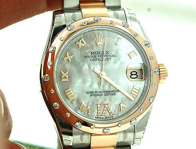 ROLEX LADIES MIDSIZE 178341 31mm 18k ROSE GOLD STAINLESS STEEL DIAMOND WHITE MOP