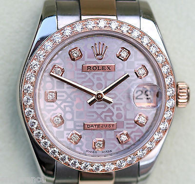 ROLEX DATEJUST LADIES MIDSIZE TWO TONE 18K ROSE GOLD DIAMOND DIAL & BEZEL 178241