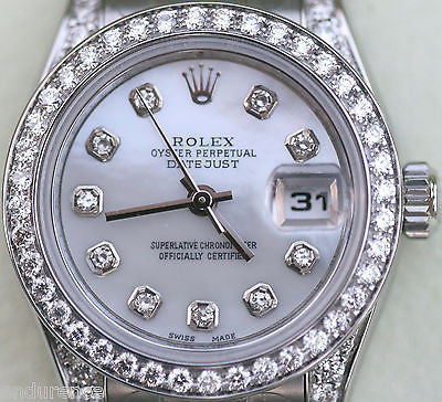 ROLEX DATEJUST LADIES DIAMOND MOTHER OF PEARL DIAL DIAMONDS BEZEL & LUGS STEEL
