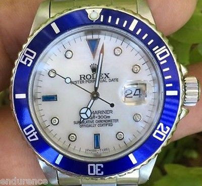 ROLEX 16610 SUBMARINER MENS LADIES STEEL MOTHER OF PEARL DIAMOND SAPPHIRE DIAL