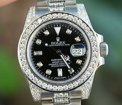 ROLEX STAINLESS STEEL DIAMOND SUBMARINER 116610 INSIDE BEZEL ENGRAVING