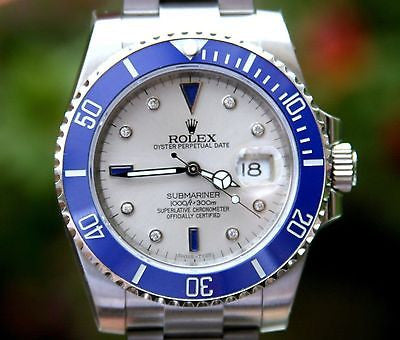 ROLEX SUBMARINER DIAMOND SAPPHIRE DYL STEEL 116610 BLUE CERAMIC BEZEL FOR 116619