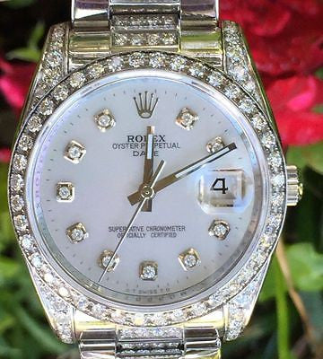 ROLEX WATCH LADIES 115200 34mm STAINLESS STEEL DATE - DIAMOND DIAL DIAMOND BEZEL