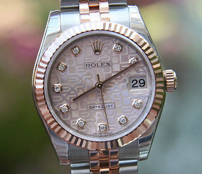 ROLEX DATEJUST MIDSIZE 31mm 18K ROSE GOLD STEEL DIAMOND JUBILEE 178271 Brand New