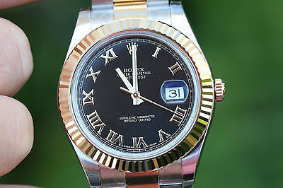 ROLEX MENS 2TONE DATEJUST 41mm LATEST MODEL 116333 RAISED 18K GOLD ROMAN UNWORN