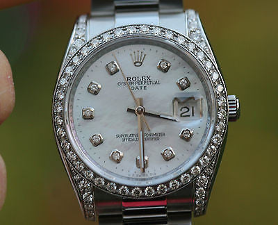 ROLEX WATCH WOMENS MENS 34mm STAINLESS STEEL DATE - DIAMOND DIAL DIAMOND BEZEL