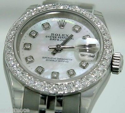 ROLEX LADIES DATEJUST 179160 STEEL WATCH WITH MOP DIAMOND DIAL AND BEZEL JUBILEE