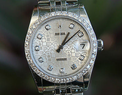ROLEX MIDSIZE MENS LADIES STAINLESS STEEL DATEJUST JUBILEE DIAMONDS DIAL BEZEL