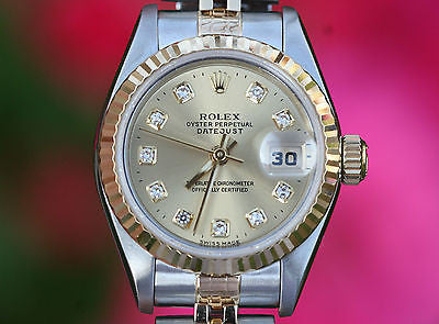 ROLEX LADIES TWO TONE DATEJUST STEEL 18K GOLD FACTORY DIAMOND DIAL 69163