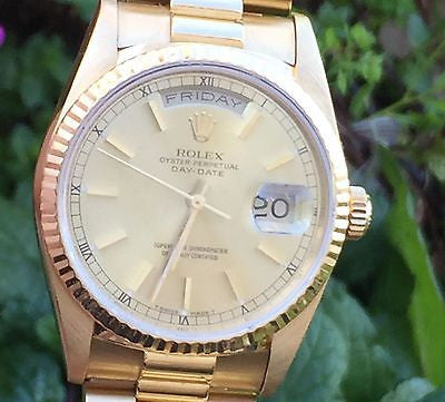ROLEX MENS LADIES 36mm PRESIDENT WATCH 18K YELLOW GOLD 18238 DAY DATE BOX PAPERS