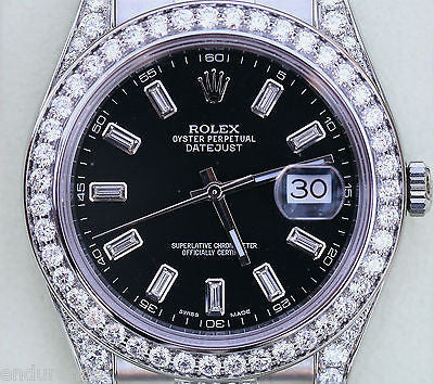 ROLEX DATEJUST II 41mm BLACK DIAMOND DIAL 116300 DIAMOND DIAMONDS DIAMONDS