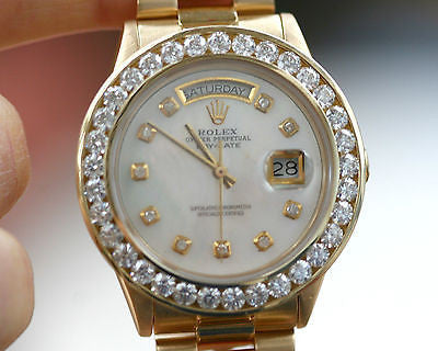 ROLEX MENS 18038 PRESIDENT 18K YELLOW GOLD 5 ct DIAMOND BEZEL MOP DIAL 36mm