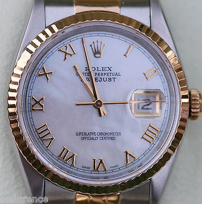 ROLEX MENS DATEJUST TWO TONE 18k GOLD STEEL MOTHER-OF-PEARL GOLD ROMAN NUMERALS