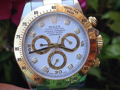 ROLEX MENS DAYTONA 116523 18k GOLD & STEEL Factory Diamond Dial BEZEL ENGRAVED