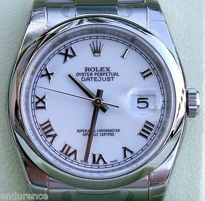ROLEX DATEJUST MENS STAINLESS STEEL SMOOTH BEZEL OYSTER BAND MODEL 116200