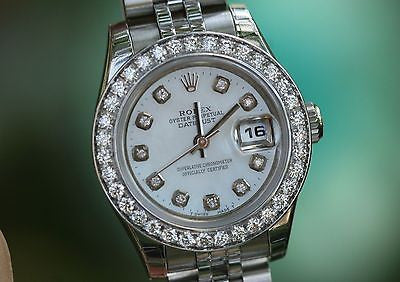ROLEX LADIES 179160 26mm STAINLESS STEEL JUBILEE BAND DIAMOND BEZEL DIAL UNWORN