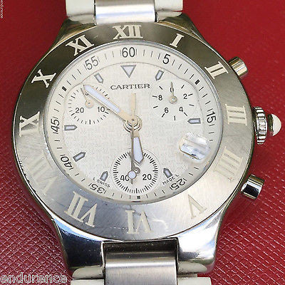 CARTIER MUST 21 CHRONOSCAPH MENS 38 mm SWISS QUARTZ WATCH Ref W10184U2 Case 2424