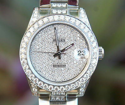 ROLEX MENS LADIES MIDSIZE 31mm DATEJUST STEEL DIAMOND LUGS BEZEL BAND PAVE UNWRN
