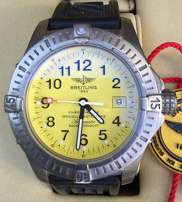 Breitling Avenger Seawolf Titanium Diver Pro. Rubber Strap Yellow Dial