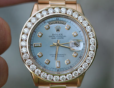 ROLEX WATCH 18038 PRESIDENT 36mm MENS FULL SIZE OVERSIZED 6ct. DIAMOND BEZEL