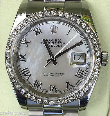 ROLEX MENS DATEJUST CUSTOM DIAMOND BEZEL PRESIDENT BAND PEARL DIAL 116200