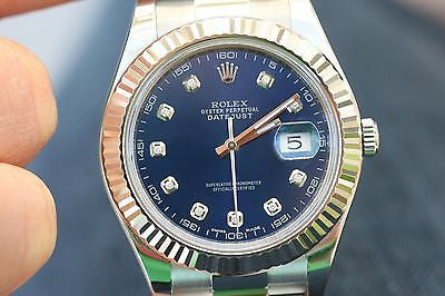 ROLEX MENS 41mm DATEJUST II 116334 STAINLESS STEEL DIAMOND DIAL UNWORN PERFECT
