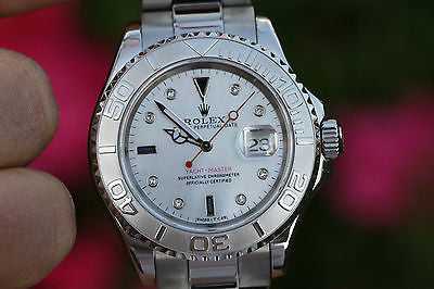 ROLEX MENS YACHT-MASTER YACHTMASTER STAINLESS STEEL PLATINUM 16622 DIAMOND DIAL