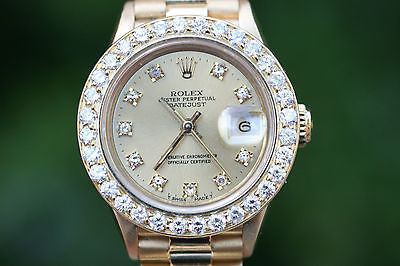 ROLEX LADIES PRESIDENT YELLOW GOLD 26mm FACTORY DIAMOND DIAL CUSTOM BEZEL 69178