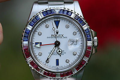 ROLEX VINTAGE GMT MASTER STEEL 40mm PEPSI 16750 WHITE DIAMOND SAPPHIRE DIAL