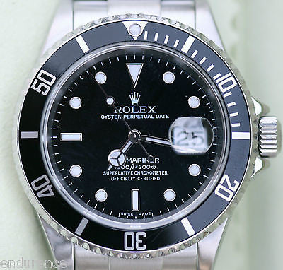 ROLEX SUBMARINER 16610 STAINLESS STEEL MENS WATCH  BLACK ON BLACK NICE