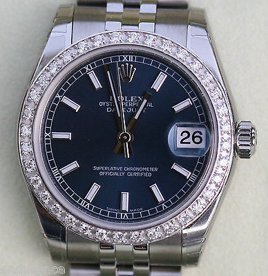 ROLEX DATEJUST LADIES 178240 MIDSIZE WATCH DIAMONDS STAINLESS STEEL