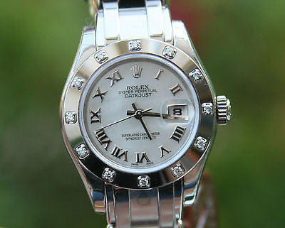 ROLEX LADIES MASTERPIECE PRESIDENT 18K WHITE GOLD 12 DIAMOND BEZEL 80319 UNWORN
