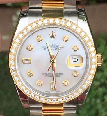 ROLEX MENS 36mm DATEJUST 116203 DIAMOND DIAL BEZEL STEEL 18K NEW UNWORN