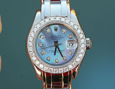 ROLEX LADIES PRESIDENT MASTERPIECE 80319 18K WHITE GOLD DIAMOND BEZEL DIAL MOP