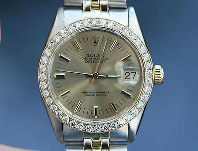 ROLEX MIDSIZE LADIES DATEJUST 6824 2TONE DIAMOND BEZEL 31mm 18K YELLOW GOLD