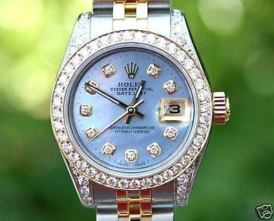 ROLEX LADIES 2TONE DATEJUST CAROLINA BLUE DIAMOND