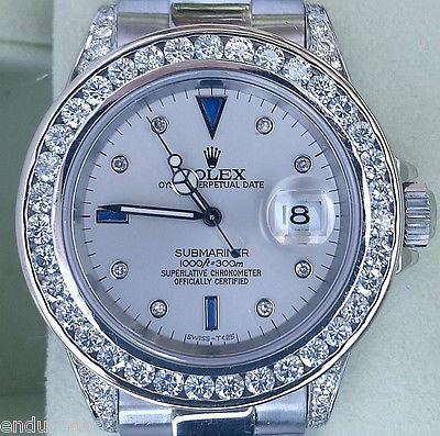 ROLEX SUBMARINER 16610 DIAMOND BAND DIAMONDS EVERYWHERE & ALL OVER 40MM