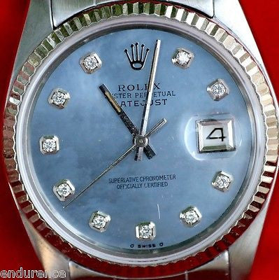 ROLEX DATEJUST MENS 16200 STAINLESS CAROLINA BLUE MOTHER OF PEARL DIAMOND DIAL