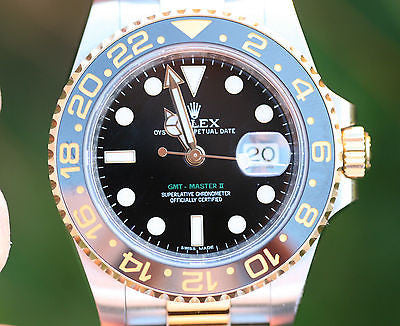 ROLEX MENS 40mm GMT II 18K GOLD & STEEL CERAMIC 116713 UNWORN BOX PAPERS