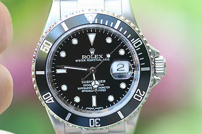 ROLEX SUBMARINER 16610 40mm INSIDE BEZEL ENGRAVING RANDOM SERIAL NUMBER BOX CARD