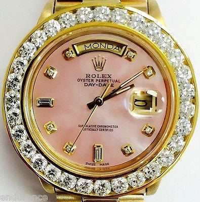 ROLEX PRESIDENT 18038 18K GOLD MOTHER OF PEARL PINK DIAMOND DIAL 6ct BEZEL