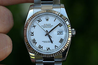 ROLEX MENS FULL SIZE 36mm DATEJUST STAINLESS STEEL AND WHITE GOLD BEZEL 116234