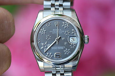 ROLEX MENS LADIES MIDSIZE 31mm DATEJUST STAINLESS STEEL FLORAL 178240