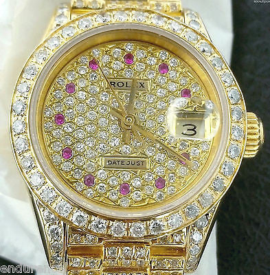 ROLEX LADIES PRESIDENT 18K GOLD DIAMONDS EVERYWHERE & RUBY HOUR MARKERS 69178
