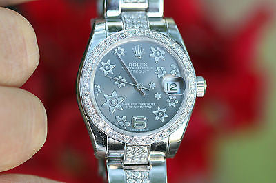 ROLEX LADIES MIDSIZE 31mm STEEL DATEJUST FLORAL DIAL DIAMOND BAND BEZEL UNWORN
