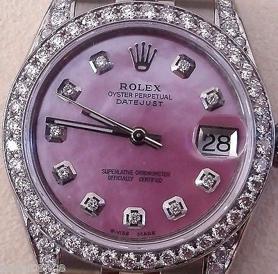 ROLEX DATEJUST MIDSIZE 178240 PINK MOTHER OF PEARL DIAMOND DIAL BEZEL AND LUGS
