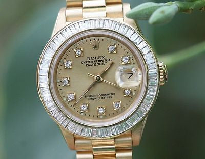 ROLEX LADIES PRESIDENT 18K YELLOW GOLD CHANNEL SET DIAMOND BEZEL GOLD DIAL 69178