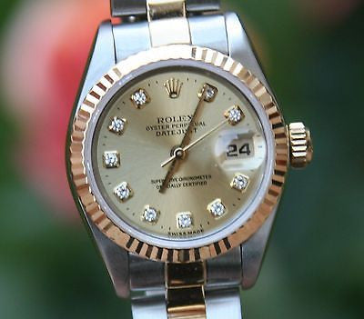ROLEX LADIES DATEJUST 69163 FACTORY GOLD DIAMOND DIAL OYSTER 18K YELLOW & STEEL