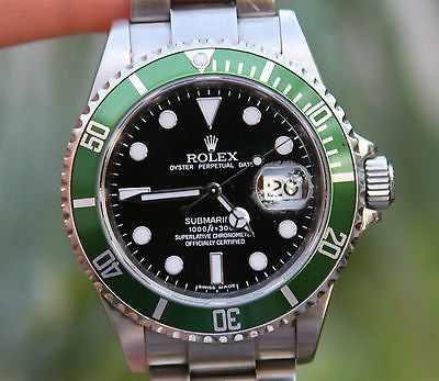 ROLEX MENS STAINLESS STEEL SUBMARINER GREEN ANNIVERSARY 40mm 16610V