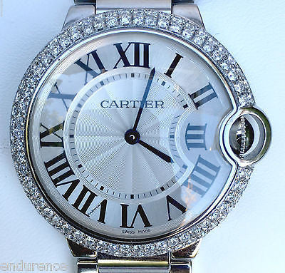 Cartier 36mm Stainless Steel Ballon Bleu with Custom Diamond Bezel